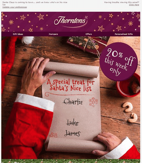 Thorntons image personalization email example